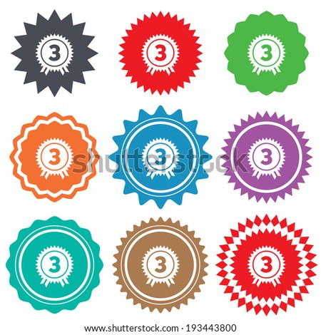 Third place award sign icon. Prize for winner symbol. Stars stickers. Certificate emblem labels. Vector - stock vector