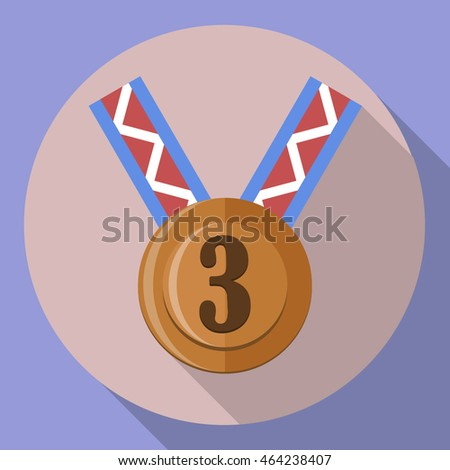 third place bronze medal icon, flat design