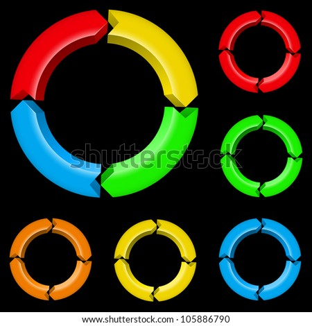 Third set of colored arrows. Illustration for design on black background - stock vector