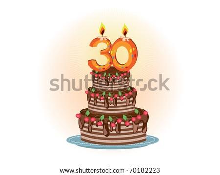 thirtieth,pie - stock vector