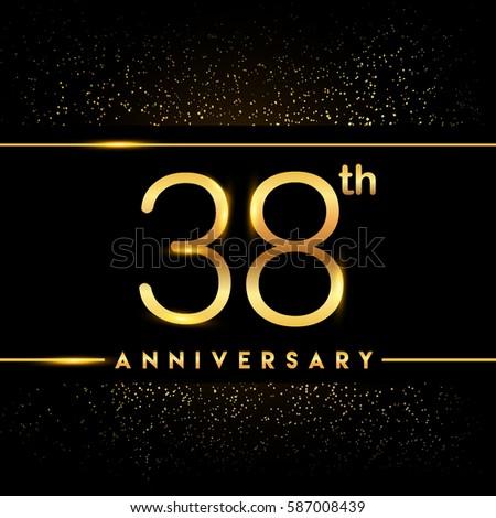 Thirty Eight Years Anniversary Celebration Logotype Stock Vector