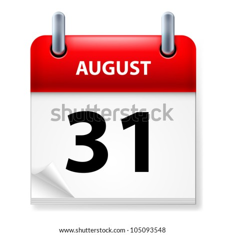 Thirty-first August in Calendar icon on white background - stock vector