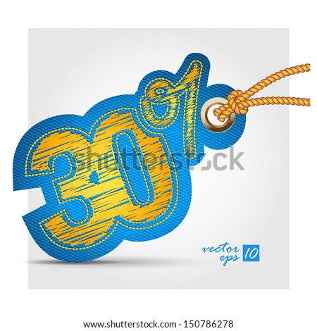 thirty percent jeans tag - stock vector