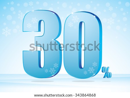 thirty percent on snow background - stock vector