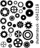 Thirty silhouetted vector gears - stock vector