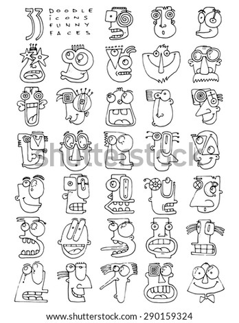 thirty three doodle icons FUNNY FACES silly characters simple drawing