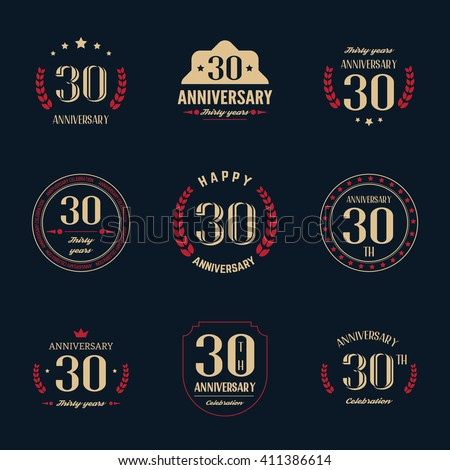Ten Years Anniversary Celebration Logotype Stock Vector 411386599