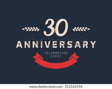 Thirty years anniversary celebration logotype 30th stock vector