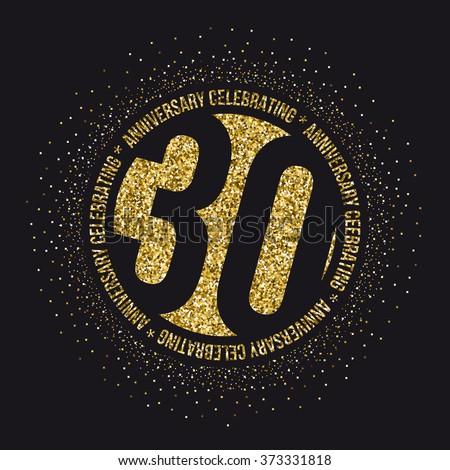 Thirty years anniversary celebration logotype. 30th anniversary logo. - stock vector