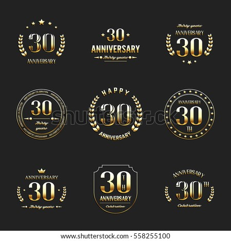 Thirty Years Anniversary Celebration Logotype 30th Stock Vector