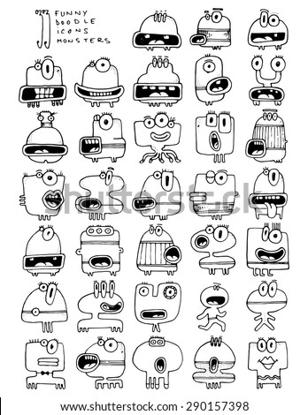 thirtythree doodle icons MONSTERS funny silly simple drawing characters - stock vector