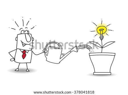 this businessman waters the tree and an idea bulb. It's a metaphor of somebody who want find a brilliant idea - stock vector