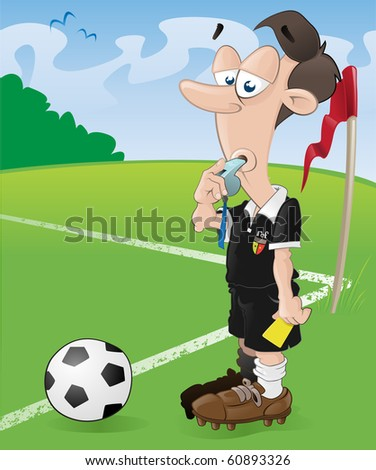 This football referee looks as if he has had enough of this game of soccer. - stock vector