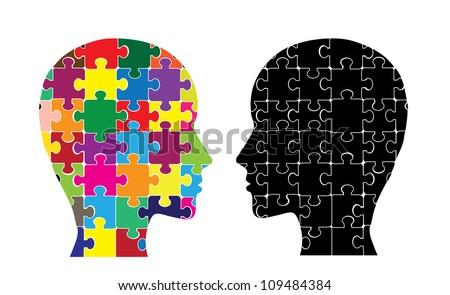 This image illustrates the use of brain hemispheres. - stock vector