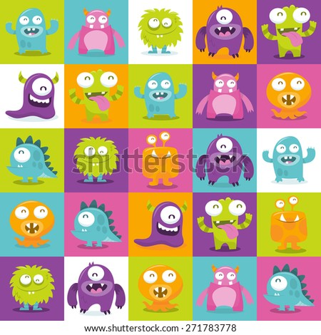 This image is a cartoon vector illustration of happy, silly, cute monsters in multicolor 5x5 tiles pattern background.  - stock vector