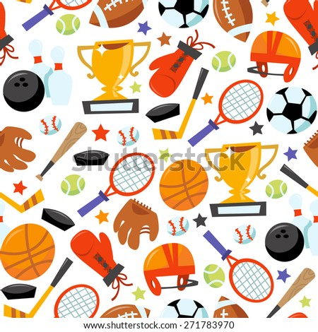 This image is a cartoon vector illustration of sporting icons seamless pattern background. Filled with various different popular sporting equipments. - stock vector