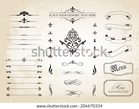 This image is a set of  Vintage Decorative Ornament Borders and Page Dividers. / Vintage Decorative Ornament Borders and Page Dividers / Vintage Decorative Ornament Borders and Page Dividers - stock vector