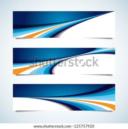 This image is a vector file representing a collection of abstract headers. No mesh items or transparencies. Multiply blend mode on shadow. EPS 10 file. - stock vector