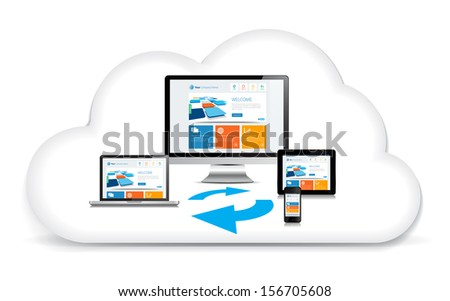 This image is a vector file representing a internet cloud backup concept. / Multimedia Syncing Data Cloud / Multimedia Syncing Data Cloud - stock vector