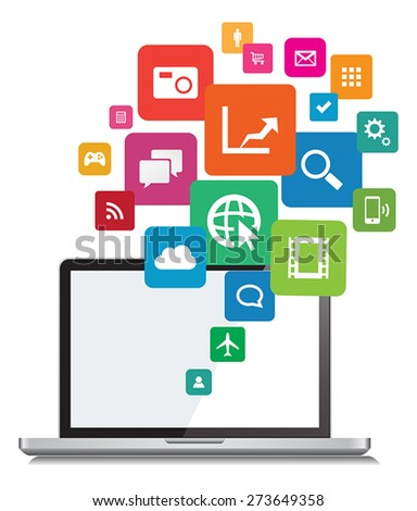 This image is a vector file representing a Laptop App cloud Network Vector Design Illustration./Laptop App Cloud Network Vector Design/Laptop App Cloud Network Vector Design - stock vector