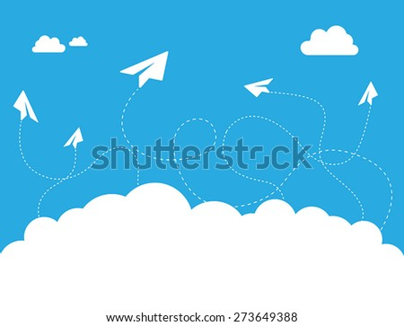 This image is a vector file representing a Paper Plane Cloud on Blue Sky Vector Design Illustration./Paper Plane Cloud on Blue Sky Vector Design Concept/Paper Plane Cloud on Blue Sky Vector - stock vector