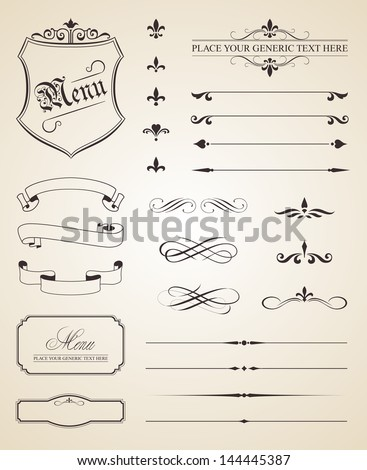 This image is a vector file representing a set of calligraphic and page decoration elements