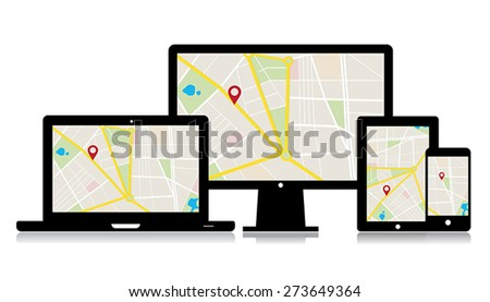 This image is a vector file representing a set of media technology devices with map location app./Vector Gadgets Map Location/Vector Gadgets Map Location - stock vector