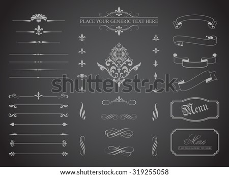 This image is a vector file representing a set of  Vintage Decorative Ornament Borders and Page Dividers./Vintage Decorative Ornament Borders and Page Dividers/Vintage Ornament Borders Page Dividers - stock vector