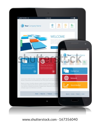 This image is a vector file representing a smartphone  and a tablet with a responsive design website. / Tablet Internet Technology / Tablet Internet Technology - stock vector