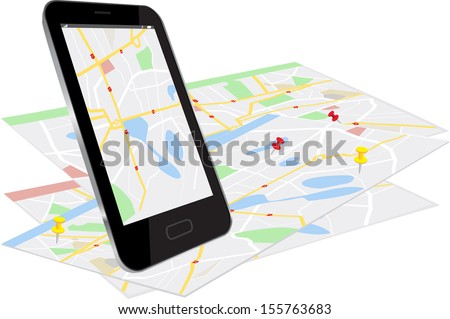 This image is a vector file representing a Smartphone with map location app./Vector Gadgets Map Location/Vector Gadgets Map Location / mobile concept