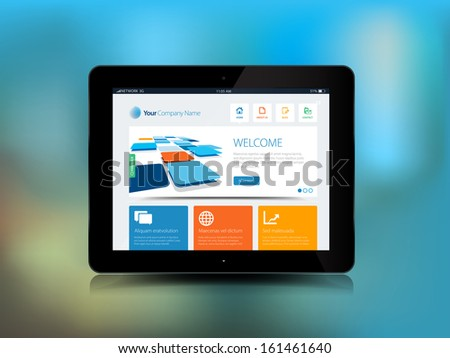 This image is a vector file representing a Tablet Technology with a blur background. / Tablet Technology / Tablet Technology - stock vector