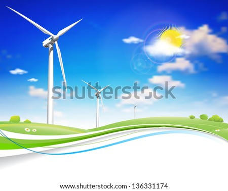 This image is a vector file representing a Wind Energy Turbine. / Wind Energy Turbine / Wind Energy Turbine - stock vector