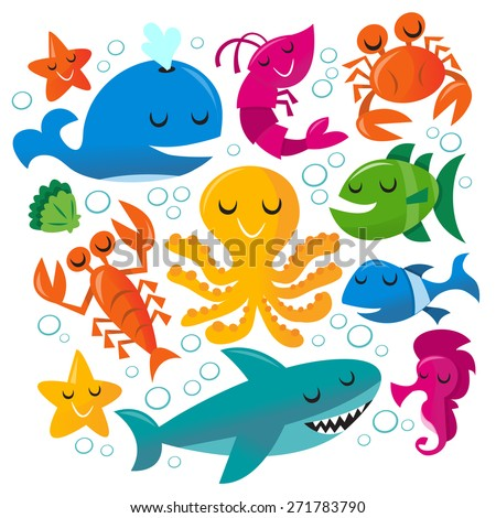 This image is a vector illustration of happy fun cartoon sea creatures set.