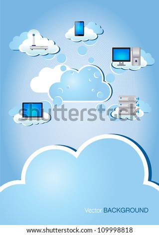 This image is a vector illustration representing a cloud computing scheme and can be scaled to any size without loss of resolution./Cloud Computing - stock vector