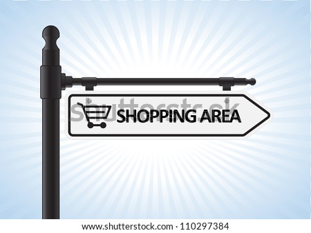 This image is a vector illustration representing a shopping direction sign what can be scaled to any size without loss of resolution. - stock vector