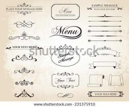 This image is a vector set that contains calligraphic elements, borders, page dividers, page decoration and ornaments./Vector Vintage Ornament Divide Border/Vector Vintage Ornament Divide Border