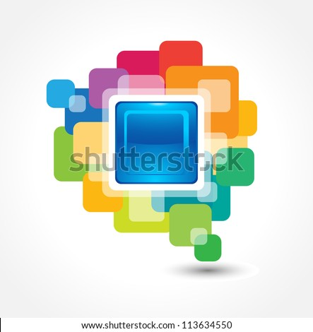 This image is an abstract button made from colorful round corner squares. - stock vector