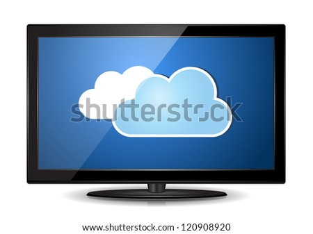 This image represents LCD TV Monitor with a cloud. / Cloud LCD TV Monitor