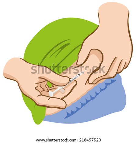 This injection of a person applying the belly can be either for the treatment of diabetes or sclerosis  - stock vector