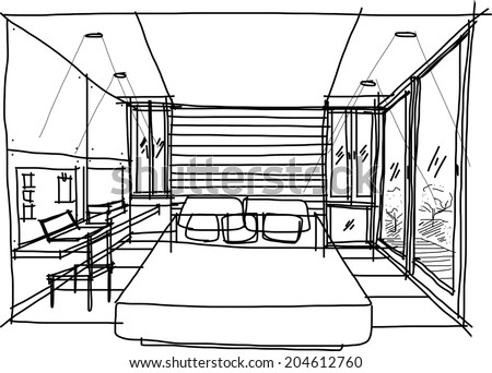 This is a Bed room in a vector file.sketch on my imagination - stock vector