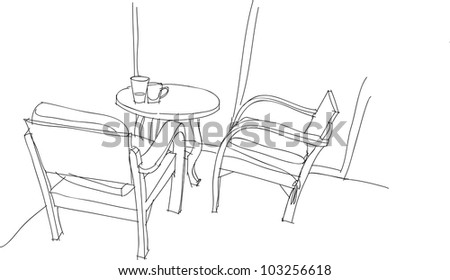 This is a chair and table in vector file. - stock vector