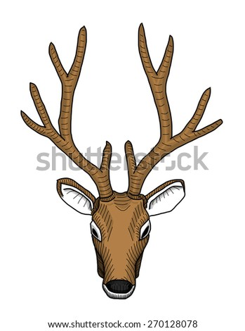 This is a deer head. This is vector file created by hand sketch.(reference with my photo) - stock vector