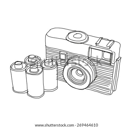 This is a film camera. This is vector file created by hand sketch.(reference with my photo) - stock vector
