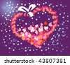 This is a large heart against the dark sky and stars - stock photo