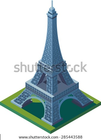 This is a perfect isometric Eiffel tower from Paris. Vector colorful France landmark. - stock vector