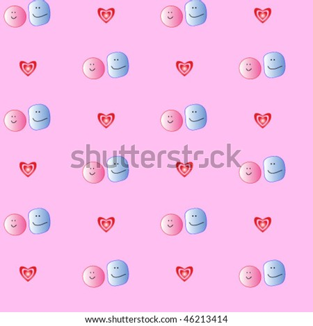 This is a seamless texture. A pair of smiles. Valentine's Day. - stock vector