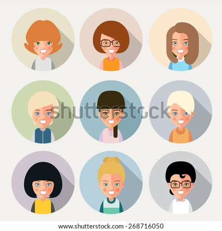This is a set of cartoon characters girls. For avatars. eps8 - stock vector