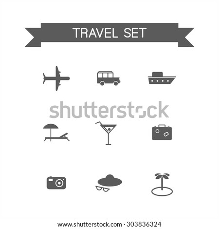 This is a travel set flat design monochrome  icons. Here you can find plane, car, ship, cocktail,suitcase, camera,hat,palm and sunbed. Perfect choose for infographic, web and at your will. - stock vector