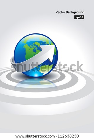 This is a vector illustration  representing the earth network on a brochure or flyer.