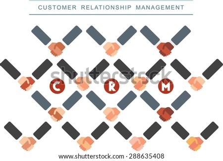 This is flat design icon of Customer Relationship Management development topic.You can use handshake pattern for infographic, presentation, or at you will. - stock vector